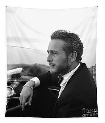 Reflecting, Paul Newman, Movie Star, Cruising Venice, Enjoying A Cuban Cigar, Black And White Tapestry