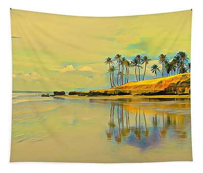 Reflection Of Coastal Palm Trees Tapestry