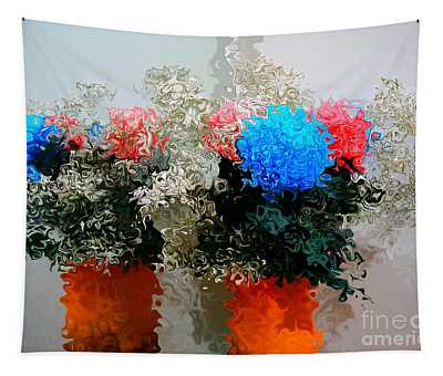 Reflection Of Flowers In The Mirror In Van Gogh Style Tapestry