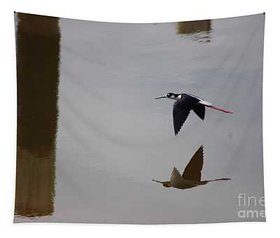 Reflection Of The Salton Sea Black Neck Stilt Flying Tapestry