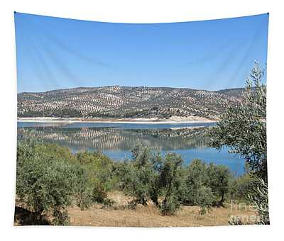 Reflection On The Lake Near Iznajar Tapestry