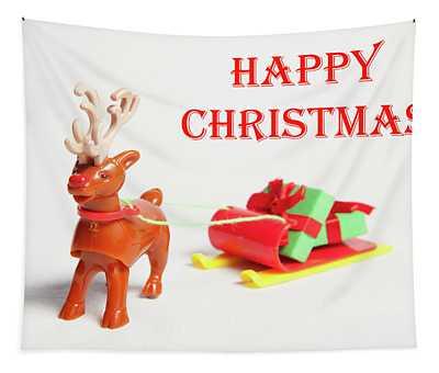 Reindeer Sleigh - Happy Christmas II Tapestry