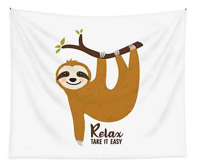 Relax Take It Easy - Baby Room Nursery Art Poster Print Tapestry