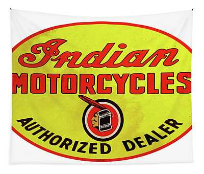 Retro Indian Motorcycles Tapestry