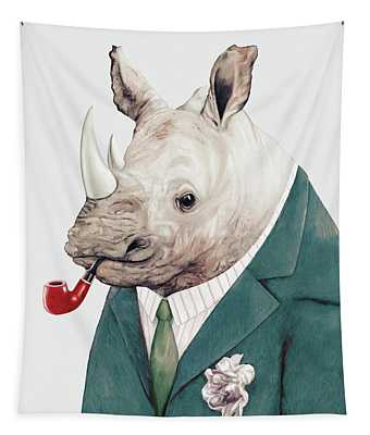 Rhino In Teal Tapestry