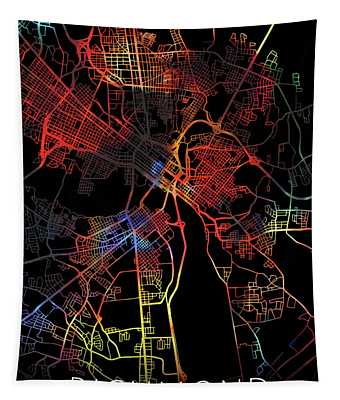 Richmond Virginia Watercolor City Street Map Dark Mode Tapestry