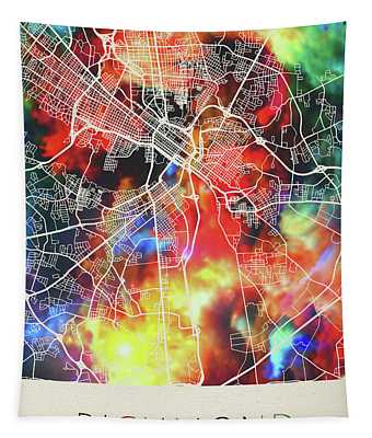 Richmond Virginia Watercolor City Street Map Tapestry