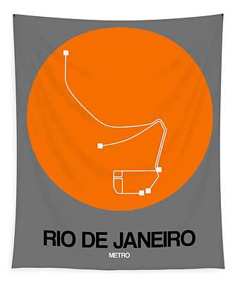 Rio De Janeiro Orange Subway Map Tapestry
