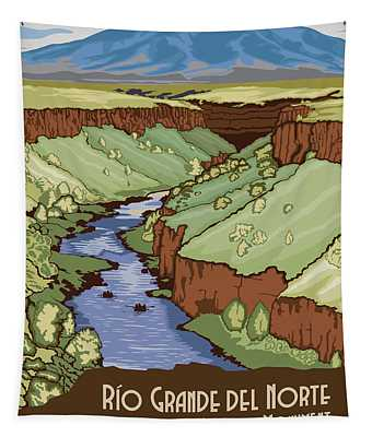 Rio Grande Del Norte National Monument, New Mexico Travel Poster Tapestry
