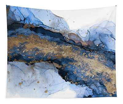 River Of Blue And Gold Abstract Painting Tapestry