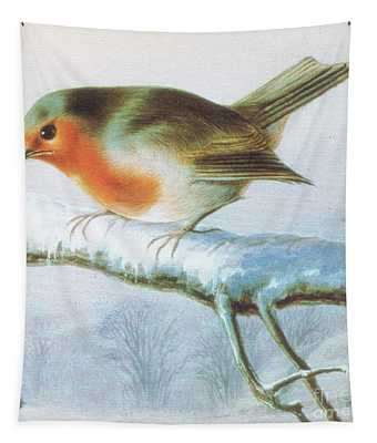 Robin, Color Christmas Card Tapestry