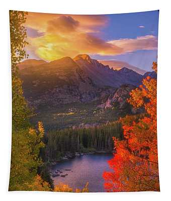 Rocky Mountain Sunrise Tapestry