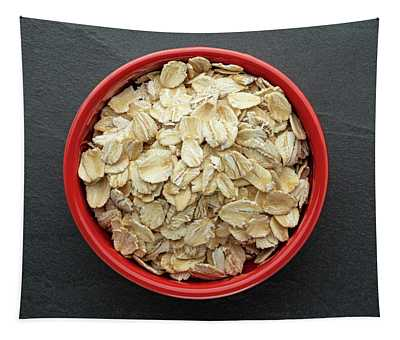 Rolled Oats In Red Bowl Tapestry