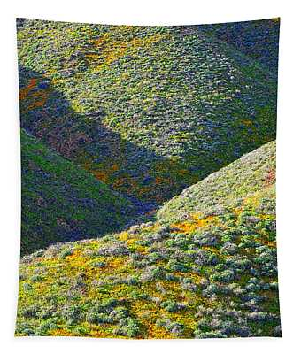 Rolling Hillsides In California - Square Tapestry