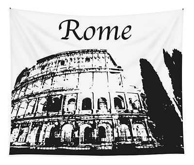 Roman Coliseum Silhouette Tapestry