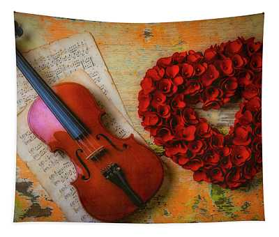 Romantic Violin And Heart Tapestry