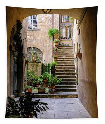 The Cobblestone Streets Of Sorrento Italy Tapestry