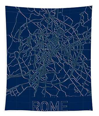 Rome Blueprint City Map Tapestry