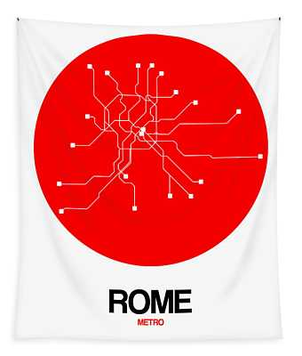 Rome Red Subway Map Tapestry