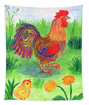 Rooster And Little Chicken Tapestry