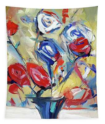 Roses And Bluez Tapestry