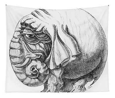 Rounded Elephant Tapestry