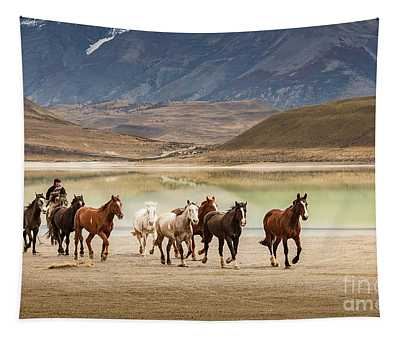 Rounding Up The Horses Tapestry