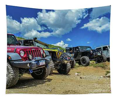 Row Of Jeeps Tapestry