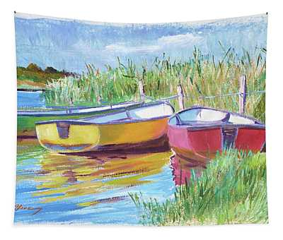 Rowboats Plein Air Tapestry