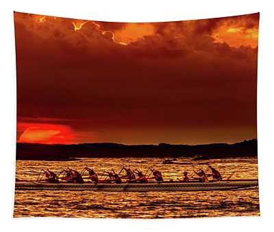 Rowing In The Sunset Tapestry