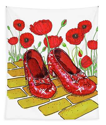 Ruby Slippers Red Poppies Wizard Of Oz Tapestry