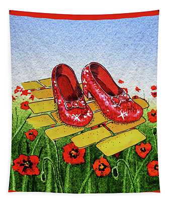 Ruby Slippers Yellow Brick Road Wizard Of Oz Tapestry