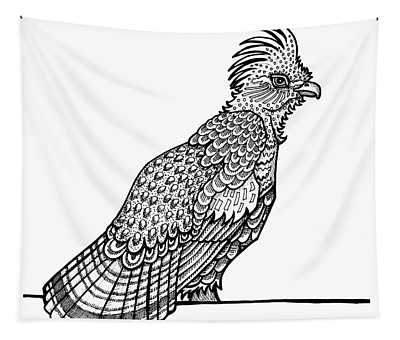 Tapestry featuring the drawing Ruffed Grouse by Amy E Fraser