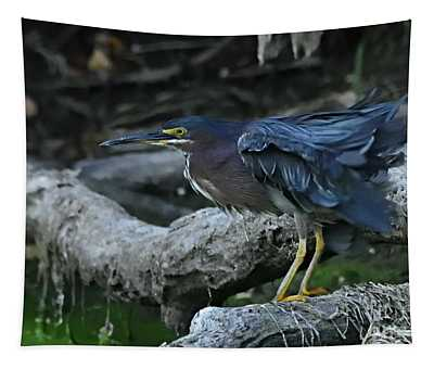 Ruffled Green Heron Tapestry