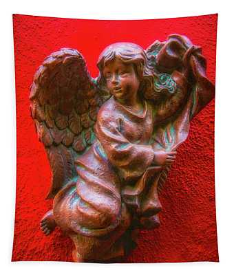 Running Angel On Red Wall Tapestry