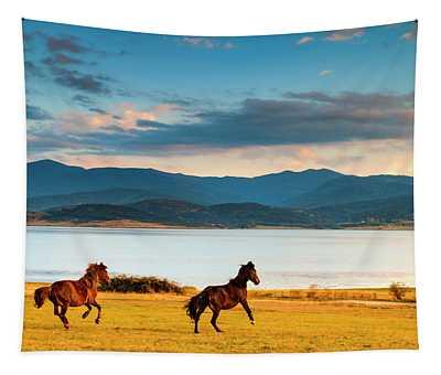 Running Horses Tapestry