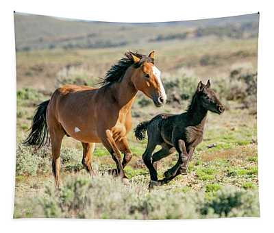 Running Wild Mustangs - Mom And Baby Tapestry