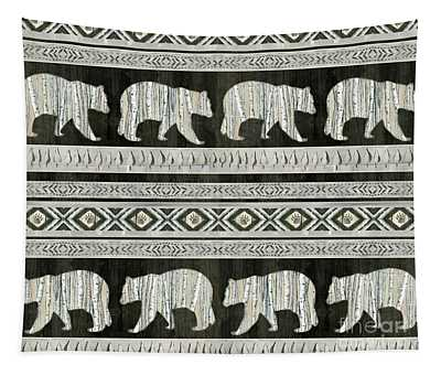 Rustic Mountain Lodge Bear Tribal Tree Pattern Tapestry