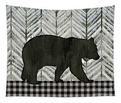Rustic Mountain Lodge Black Bear Tapestry