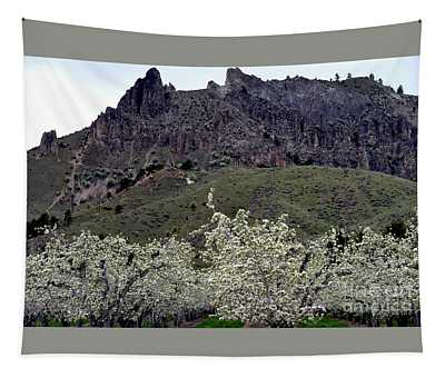 Tapestry featuring the photograph Saddle Rock And Apple Blooms by Mae Wertz
