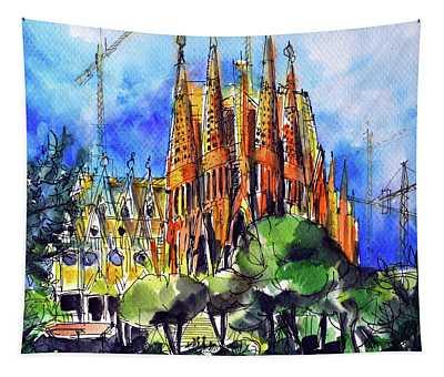 Sagrada Familia Barcelona Watercolor Painting Mona Edulesco Tapestry