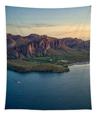 Saguaro Lake Mountain Sunset Tapestry