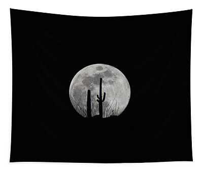 Saguaro Moon Silhouette  Tapestry