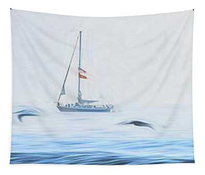 Sailboat Beyond The Surf Tapestry