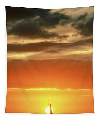 Sailboat In Front Of A Hawaiian Sunset Tapestry