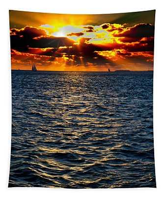 Sailboat Sunburst Tapestry