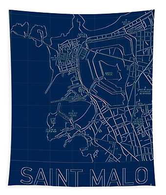 Saint Malo Blueprint City Map Tapestry