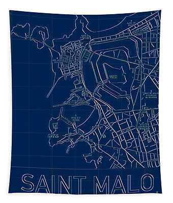 Saint Malo Blueprint City Map Tapestry