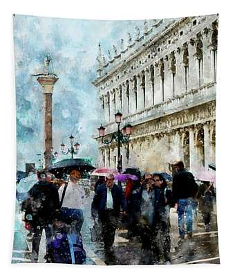 Saint Theodore Sculpture At Saint Mark Square In Venice, Italy - Watercolor Effect Tapestry