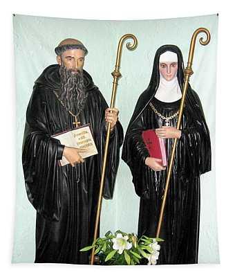 Saints Benedict And Scholastica Statues At Saint Josephs Monastery Tapestry